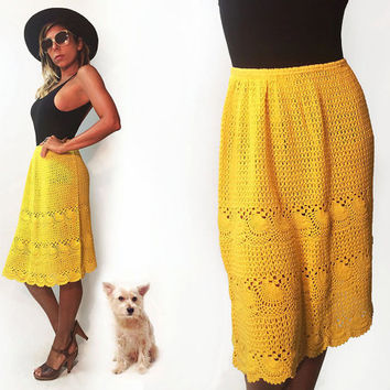 Vintage 1970's Canary Yellow Hand Crocheted Boho Festival Skirt || Hippie Bohemian Midi Maxi Skirt || Size Small Size Medium