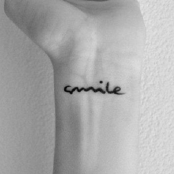 Inknart Temporary Tattoo   2pcs Smile Hand Writing Temporary Tattoo Wrist Neck Ankle