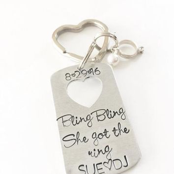 Engagement gift - Engagement keychain- Hand