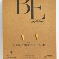 Dogeared 'Be Striking' Boxed Lightning Bolt Stud Earrings
