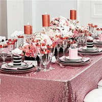 120x200cm Pink Gold/Gold Embroidered Sequin Rectangle Tablecloth Sequin Table Cloth for Wedding Birthday Party Buffet Decoration