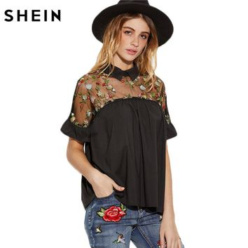 Summer Tops Black Flower Embroidered Sheer Neck Ruffle Cuff Tie Back Top Woman Short Sleeve Vintage Blouse