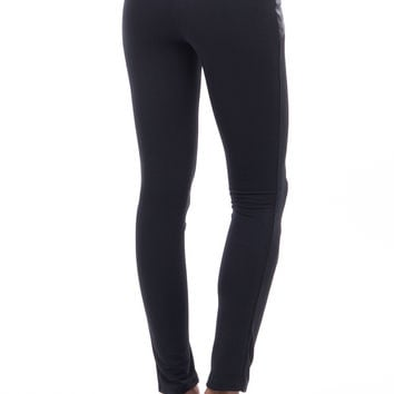 Leggings with Faux Leather Quilted Detail and Piping
