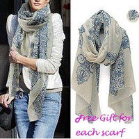 Women New Fashion Pretty Long Soft Chiffon Scarf Wrap Shawl Stole Scarves Hot Free Gift = 1958324548