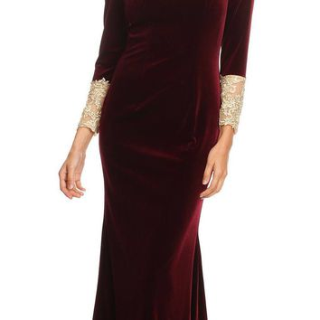 Long Sleeves Velour Evening Gown with Lace Appliques Burgundy/Gold