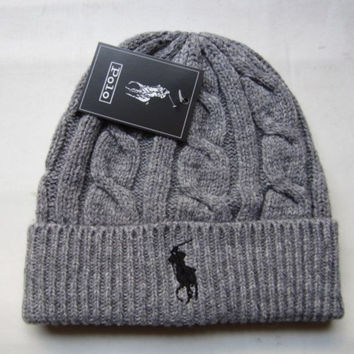 """Polo"" Winter Women Cute tab Hairball Warm hat Knitting Cap"