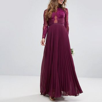 ASOS PETITE WEDDING Pretty Lace Eyelash Pleated Maxi Dress at asos.com