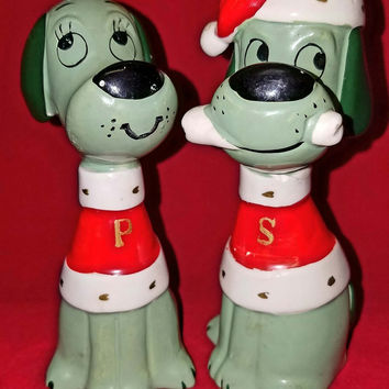 Vintage Holiday Glassware-Salt and Pepper Shakers-Tall-Green-Puppy