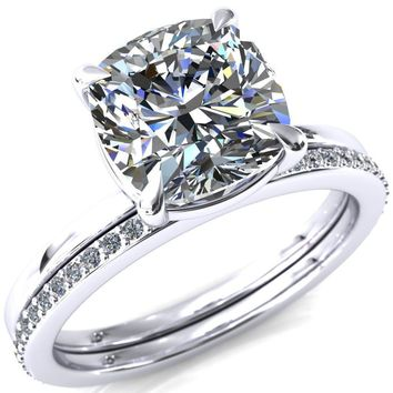 Lyla Cushion Moissanite 4 Claw Prong Solitaire Ring