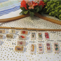 Unique One of A Kind Handmade and Handcrafted Domino Pins and Pendants - Vintage and Sea Designs