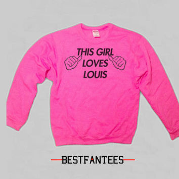 This Girl Loves Louis Bright Pink Crewneck Sweatshirt 1d 015