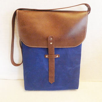 Blue Tall Waxed Canvas Single Leather Strap Messenger by ottobags