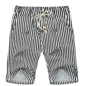 Stripe Lace Up Feather Printed Fifth Pants Beach Loose Shorts For Men