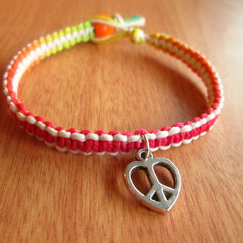 Hemp Bracelet, Peace Heart Charm, Macrame Bracelet, Hippie Jewelry, Rainbow Hemp