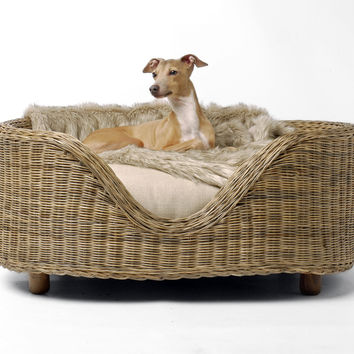 Raised Oval Rattan Dog Bed