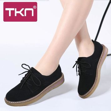 TKN 2018 Spring women Oxford boat Shoes Leather Suede Flat Shoes Women Lace Up Round Toe Casual Flats Shoes Ladies Footwear 989