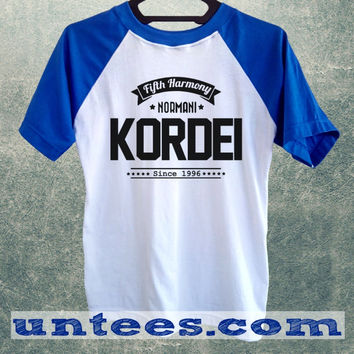 Normani Kordei Fifth Harmony Basic Baseball Tee Blue Short Sleeve Cotton Raglan T-shirt