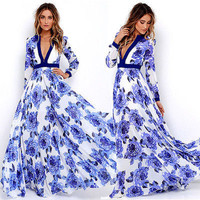 New 2017 Women Summer Floral Printed Maxi Dress Vintage Long Sleeve V neck Pleated Long Dress Beach Party Vestidos Sundress