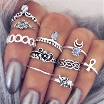 10Pcs Retro Gems Joint Rings Set Accessory