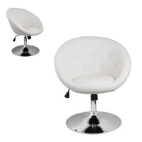 Furniture White Accent Chair Leather Round Back Living Room Modern Bar Kitchen