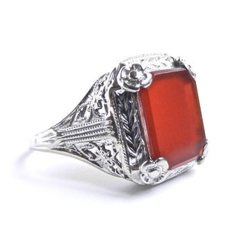 14K Gold Carnelian Filigree Ring - Antique 1920s Fine Jewelry / Robust Red