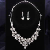 Pearl Drop Crystal Necklace With Dangle Earring Jewelry Set