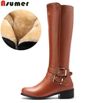 ASUMER Large size 34-46 women knee high boots buckle with zip Retro women's motorcycle boots thick fur warm winter snow boots