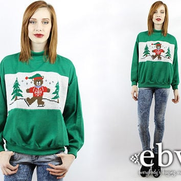 Ugly Christmas Sweater Vintage 80s Ice Skating Bear Sweatshirt Fugly Christmas Sweater Xmas Sweater Tacky Christmas Sweater Holiday Sweater
