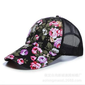 LMFUS4 The new female floral hat baseball cap mesh cap spring and summer sports and leisure sun visor sun hat snapback cap