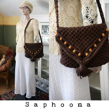 Vintage 60s 70s Macrame Shoulder Bag Purse crossbody boho hippie fringe tassel brown wooden beads beading festival INCLUDES US SHIPPING