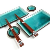 Japanese Ocean Blue Six Piece Sushi Plate Set for Two