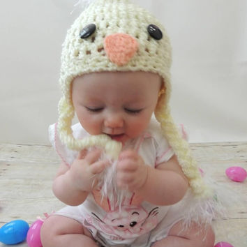 Crochet Little Chick Baby Hat - Size Preemie, Newborn, Baby, Toddler