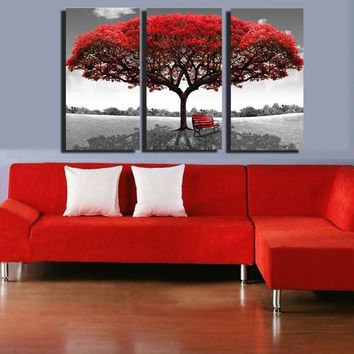 Home Creative Decor Large Red Tree Modern Art Canvas Oil Painting Picture Print Wall Decoration Gift No Frame