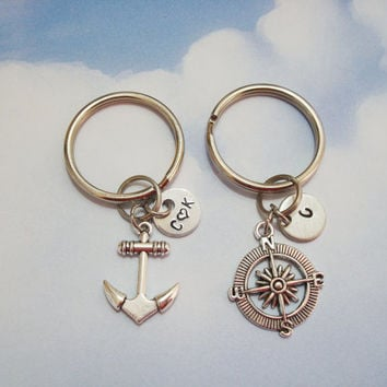 Anchor and compass matching couples keychains - 2 matching keychains - optional initial or name charms - boyfriend girlfriend - nautical
