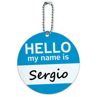 Sergio Hello My Name Is Round ID Card Luggage Tag