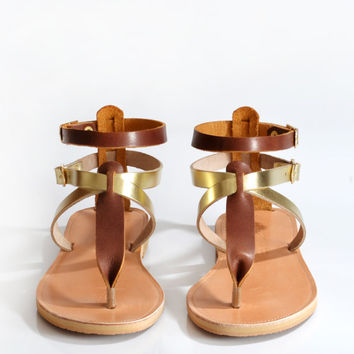 Sandals, Leather sandals women, Greek sandals, Gold & brown leather sandals