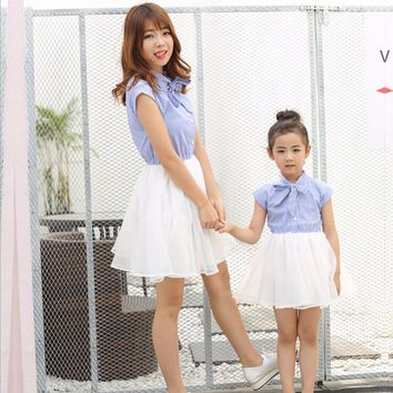 Mother Daughter Matching Clothes Summer 2017 Short Sleeve Family Look Mother Daughter Dresses Family Matching Clothing Outfits