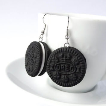 Oreo earrings dangle cookie charm polymer clay