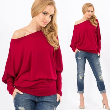 One Shoulder Long Sleeve Shirt