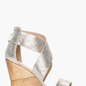 Diane Von Furstenberg Silver Speckled Opal Wedge Sandals for women | SSENSE