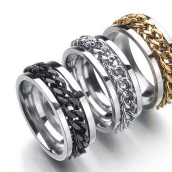 Men's Titanium Steel Chain Rotary Ring
