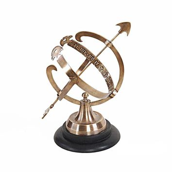 Brass Armillary On Wooden Base Hancrafted Nautical Decor