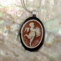 Angel Necklace Jewelry,  Angel Pendant, Shell Cameo, Gift from Italy, Onyx, Birthday Gift, Made In Italy
