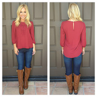 Audra Embroidered Blouse - BURGUNDY
