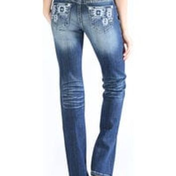 Grace in LA Women's Tribal Pocket Jeans - Boot Cut
