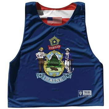 Maine State Flag and American Flag Reversible Lacrosse Pinnie