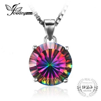 JewelryPalace Nature Gem Stone Rainbow Fire Mystic Topaz Pendant Pure Solid 925 Sterling Silver Round Fashion For Women