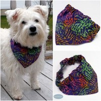 Purple Batik Boho Spring or Summer Dog Bandana