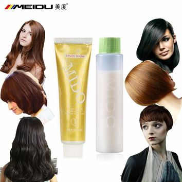 Professional Permanent Hair Dye Styling Color Cream No Ammonia Red Yellow Hair Wax Colorful Dye DIY With Cream Developer 100mlx2