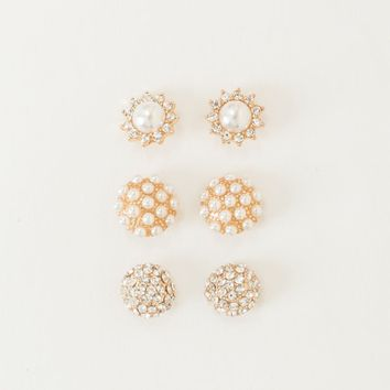 Tawny Pearl and Crystal Earring Set